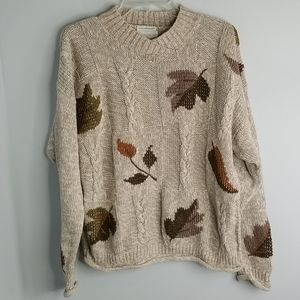 Christopher & Banks Hand Embroidered leaf sweater